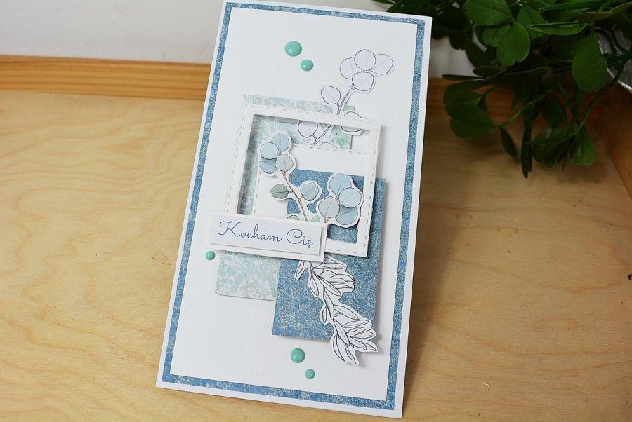 Kartka okolicznościwa- błękitny eukaliptus - kartka