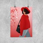 Plakat dziewczyna w kapeluszu -