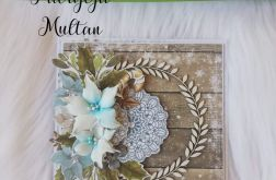 Kartka świąteczna z kwiatami z foamiranu