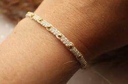 Kremowa pleciona bransoletka złote kuleczki