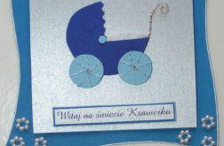Kartka - NARODZINY Wózeczek1