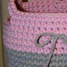 Koszyk ze sznurka (różowo-popielaty)