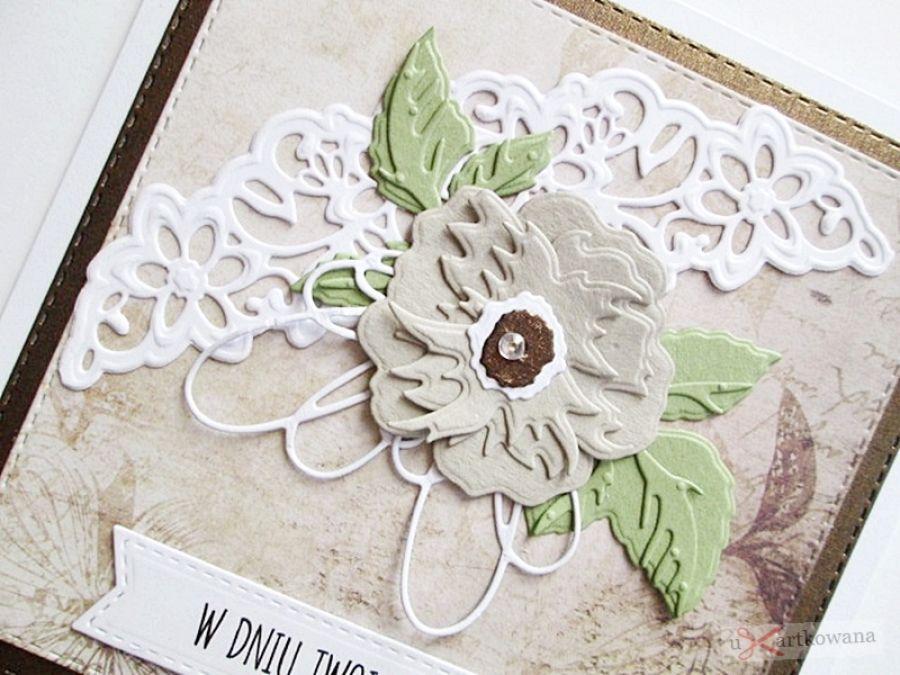 Kartka URODZINOWA w brązach #1 - Kartka na urodziny z bezowym kwiatem