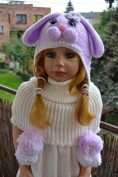 Fiolecik króliczek czapka i golfik komplet