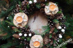 Świąteczny WIANEK ŚNIEŻYNKI 35 cm
