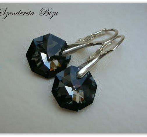 Kolczyki Swarovski Crystal Octagon Silver Night