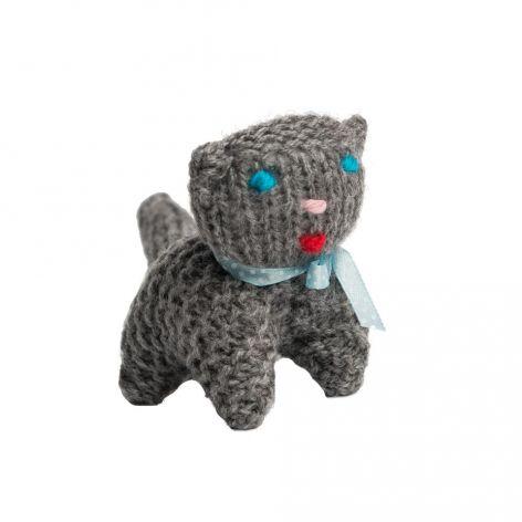 Kotek z kokardką szary