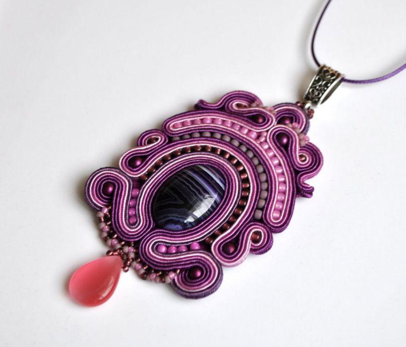 Wisiorek fioletowy z agatem - wisiorek w odcieniach fioletu