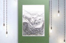 Szkic górski nr 17 - czarno biały rysunek
