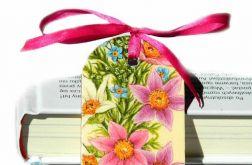 Zakładka  - różowe kwiaty, ze wstążką