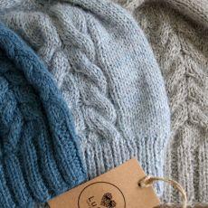 Czapka błękitno-szara z alpaki