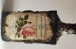Butelka ozdobna - książka z damą i różami