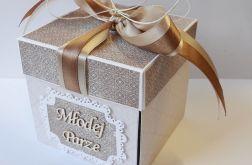 Pudełko, kartka na ślub beżowa