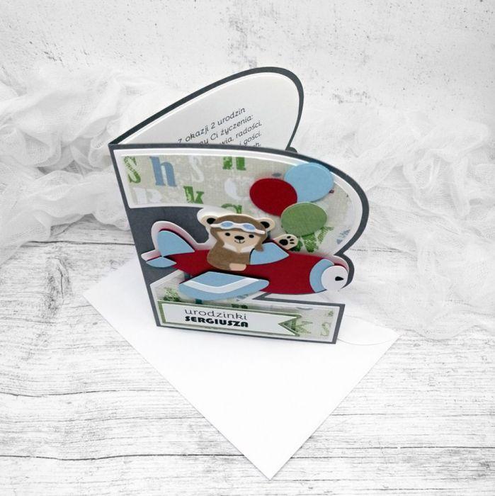 Kartka na 2 latka Miś Pilot UDP 003 - Kartka  dla chłopca na 2 latka Miś Pilot (3)