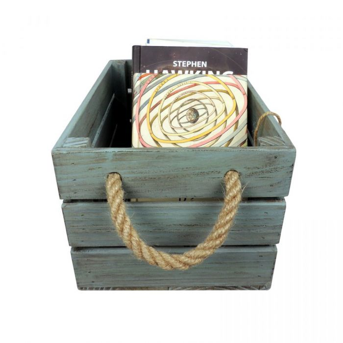 Skrzynka drewniana brąz - turkus 20x31x16,5 - Skrzynka na książki