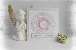 Zaproszenia IHS, biel i srebro z różowym