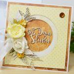 Złoto-jesienna kartka ślubna