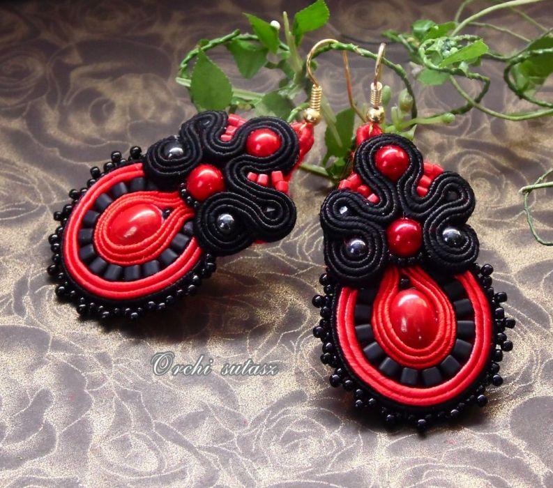 SUTASZ  KOLCZYKI -black&red