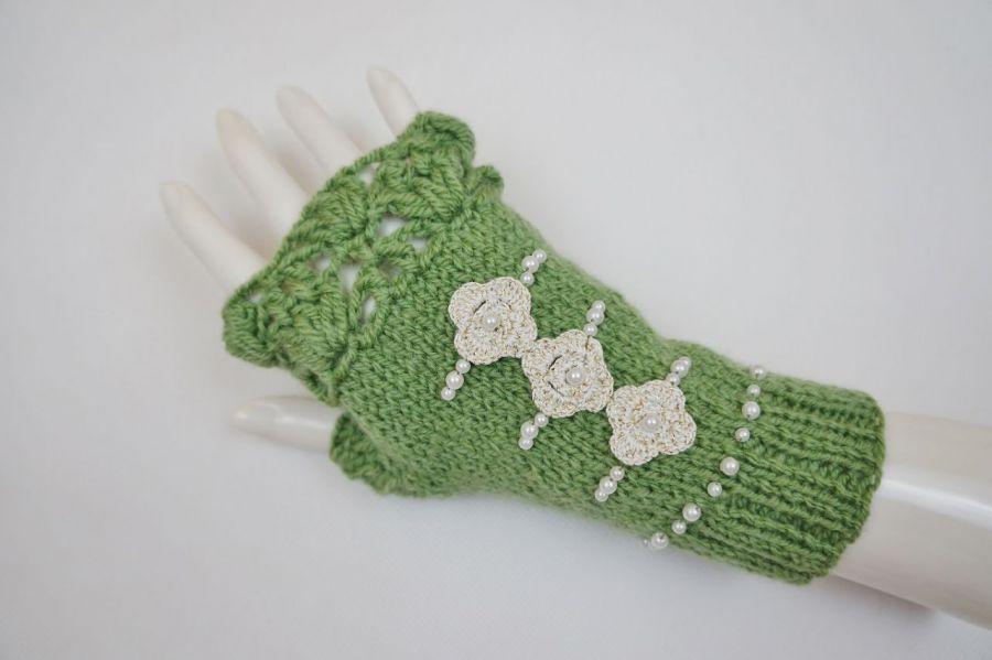 Mitenki handmade wełna zielone - modne rękawiczki