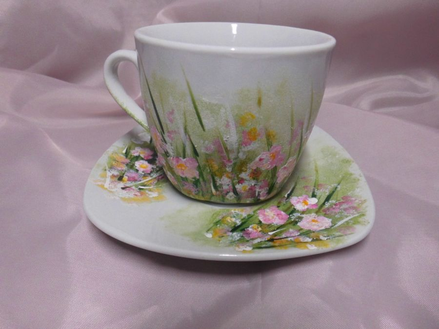 Filiżanka ręcznie malowana handmade różowe kwiatki