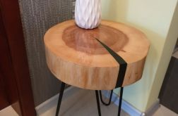 Stolik kawowy plaster drewna jesion żywica