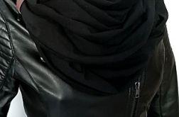 Szalik komin uniwersalny czarny z paskiem