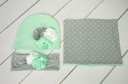Komin, czapka i opaska dla dziewczynki