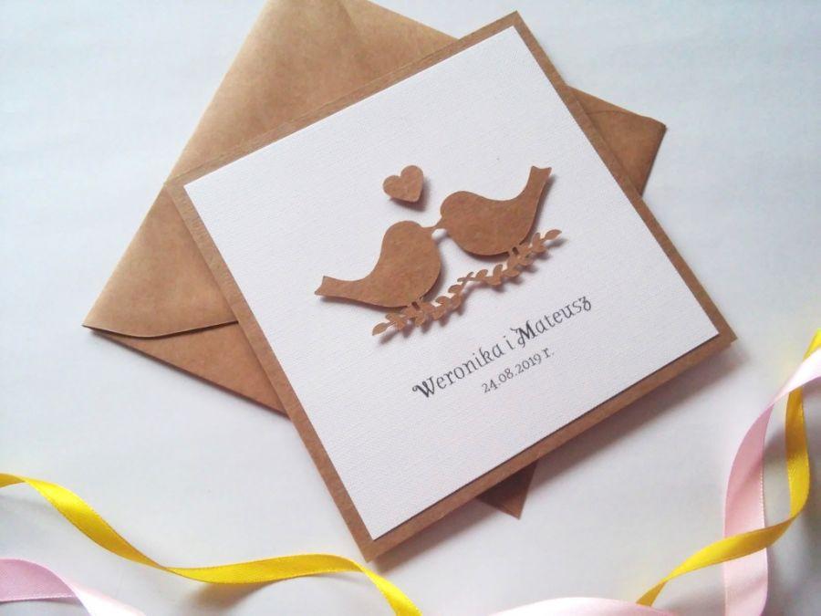 Zaproszenie ślubne z ptaszkami