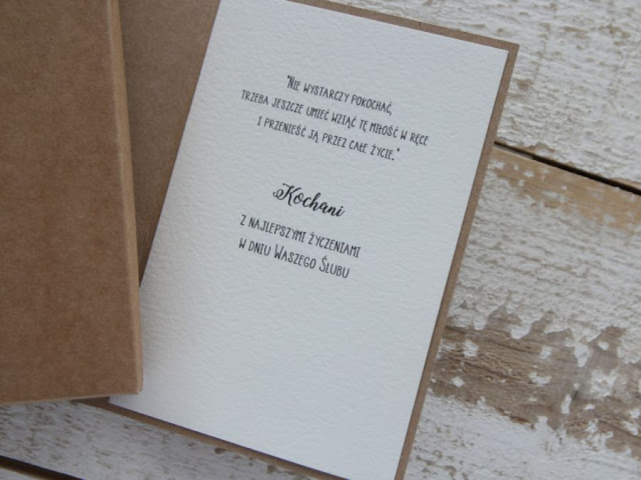 Oryginalna kartka ślubna i pudełko, koperta