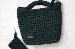 Butelkowa zieleń torebka handmade A4 etui eko