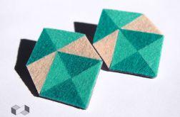 Geometryczne miętowo-kremowe kolczyki z filcu