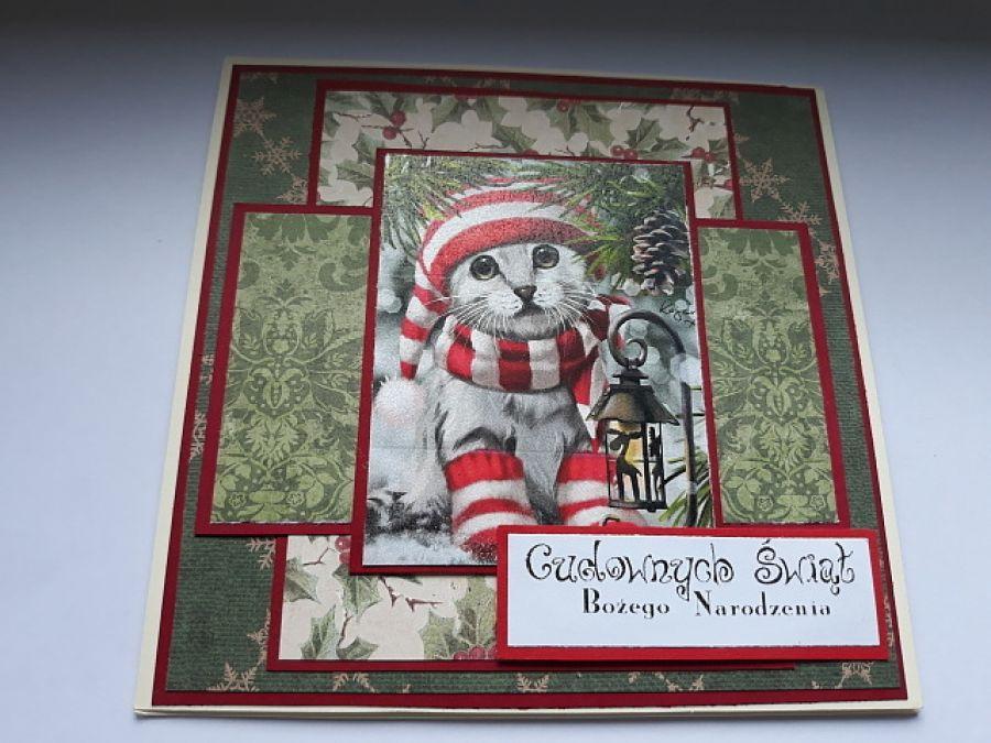Kartka świąteczna z kotkiem 1