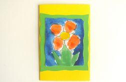 Kartka żółta  z kwiatkiem nr 12