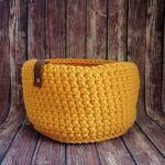 Koszyk 15x12cm,sznurek bawełniany,szary,żółty