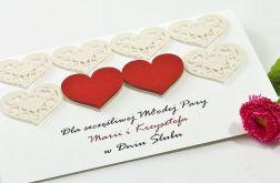 Kartka ślubna z motywem serc, personalizowana