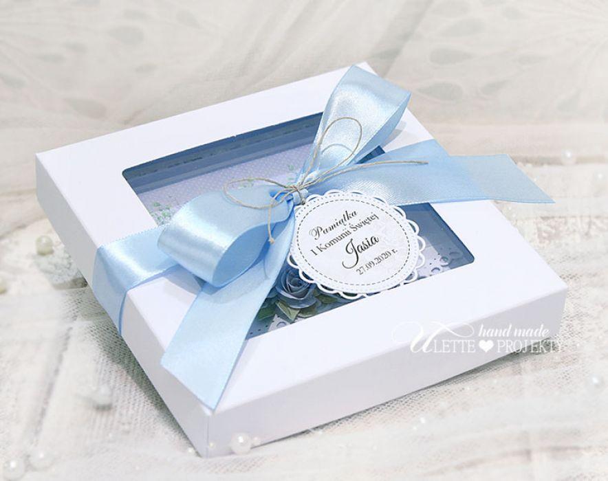 Kartka w pudełku pamiątka Pierwszej Komunii - Kartka w pudełku pamiątka Pierwszej Komunii