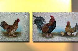 Obraz recznie malowany KURY , wiejskie kurki  RUSTYK nowość!