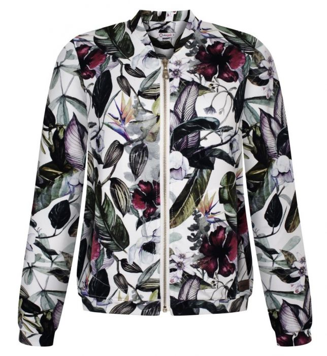 damska bluza bomberka dzianinowa kwiaty