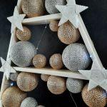 Złoto srebrna drewniana choinka LED -
