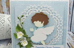 Pamiątka Chrztu dla chłopca -  z aniołkiem