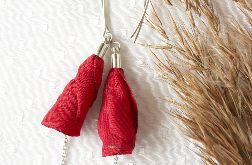 Kwiatowe kolczyki w kolorze czerwonym
