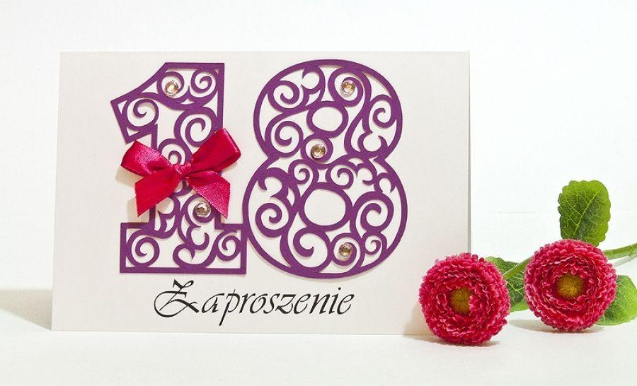 Zaproszenie na 18 osiemnaste urodziny purple