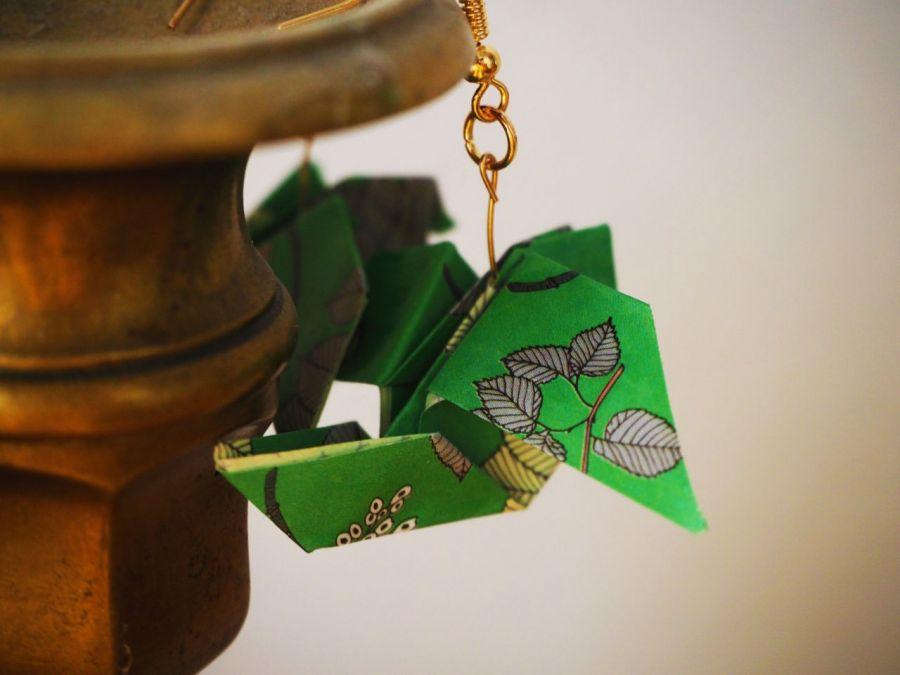 Kolczyki origami ptaki zielone  - od tyłu