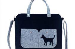 Black laptop bag with dog