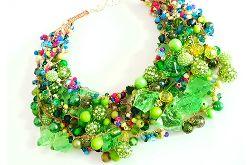 4695 naszyjnik kolia zieleń i kolory