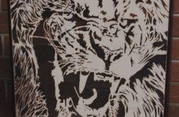 Drewniany obraz Lew