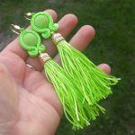 Kolczyki Sutasz z Chwostem Neonowe zielone