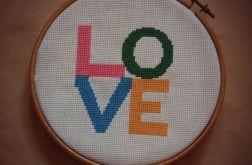 Ręcznie haftowany obrazek KOLOROWE LOVE haft krzyżykowy