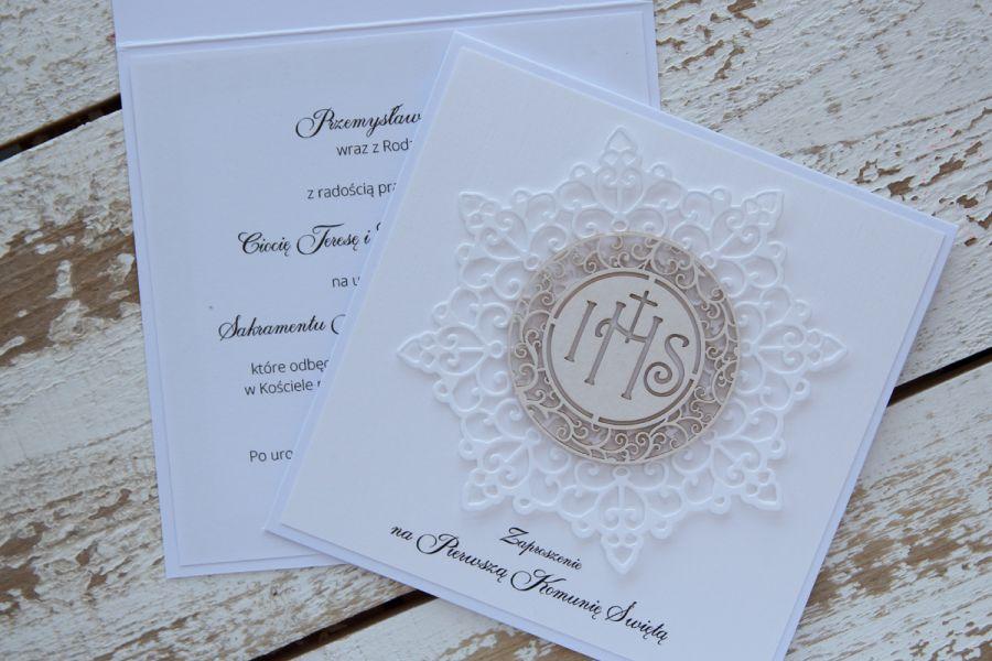 Eleganckie zaproszenia komunijne białe 10