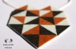 Geometryczny naszyjnik z filcu w odcieniach brązu